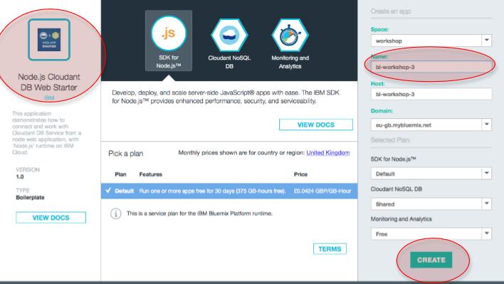 Creamos un aplicación en node.js directamente en bluemix.