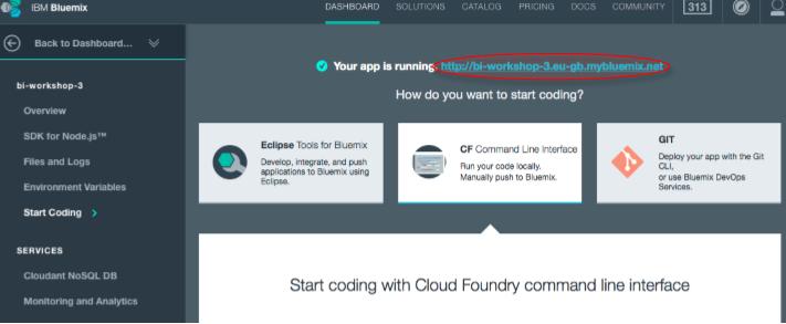 Usamos el servicio hosting que Bluemix para subir nuestra aplicación.